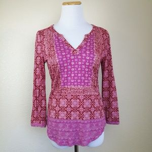 Lucky Brand Boho Pink Floral Tunic Top! XS